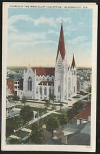 Postcard Jacksonville Florida/Fl Immaculate Conception Church Aerial view 1920's