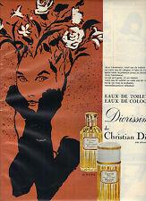 PUBLICITE ADVERTISING  1964   DIOR  par René Gruau eau  toilette Diorissimo