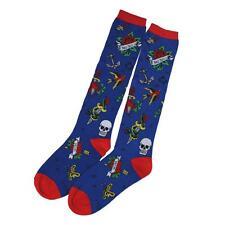 Loungefly Women's Knee High Socks Blue Footwear Tattoo Flash Skull & Roses