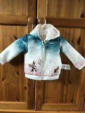 Chicco Baby casual cream 12 month jacket coat & hood fur lined animals & zip