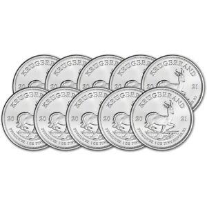 2021 South Africa Silver Krugerrand 1 oz 1 Rand - BU Ten 10 Coins