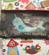"Natural Life recycled plastic zippered bag NARWHAL 8'x 4""  Good Day!"