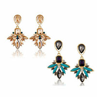 Elegant Women Rhinestone Crystal Resin Ear Stud Eardrop Dangle Earring Jewelry