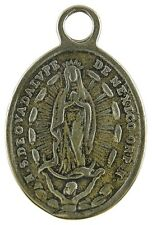 GUADALUPE / CHRIST ON CROSS WITH ANGELS Medal, bronze cast from antique original
