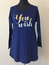 VICTORIA'S SECRET Women's Blue Nightshirt w/ You Wish Pajama Size MEDIUM