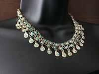 Turquoise and silver tone metal Necklace Boho Vintage