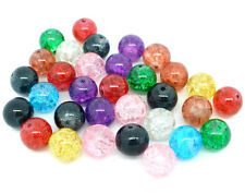 40 Crackle Glass Beads 12mm Mixed Colours Jewellery Making Crafts J05661XG