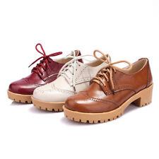 Ladies Shoe Brogues Retro British Wing Tip Patent Leather Wing Tip Chunky Heel B