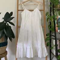 Just Jeans Y2K White Embroidered Sleeveless Midi Dress with Ruffle Hem Size 8