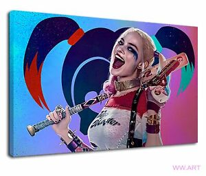Suicide Squad Harley Quinn Margot Robbie Justice  Canvas Wall Art Picture Print