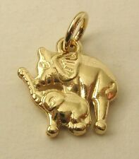 GENUINE SOLID 9K 9ct Yellow Gold 3D MOTHER and BABY ELEPHANT Charm/Pendant