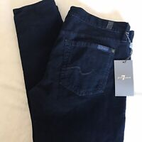 7 For All Mankind  Gwenevere Navy Blue Skinny Corduroy Pants Women's Size 30