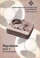 Service Manual-Anleitung für Telefunken Magnetophon KL 65 X