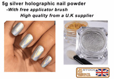 5g silver holographic nail powder Unicorn Rainbow Chrome Nail Pigment UK SELLER