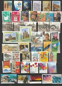 46 USED AUSTRALIAN SHEET STAMPS.