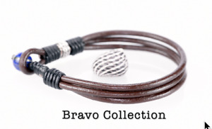 Custom Made Sterling Silver Leather Lapis Lazuli Wristband Men Bracelet 5B-022