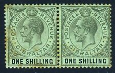 GIBRALTAR KG V 1919 One Shilling Blue-Green/Olive Back PAIR Wmk MCCA SG 81b MINT