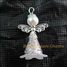 5 New Tibetan Silver Tone Charms White Acrylic Angel Wings Pendants 22x37mm