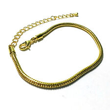 """1 Bracelet - 8.5"""" Gold Brass Snake Chain with for European Charm Beads EB0010"""