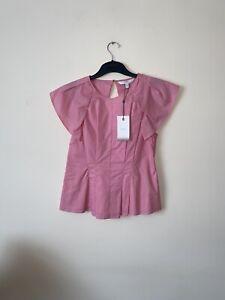 Coast UK 12 Pink Isa Flutter Short Flutter Sleeve Structured Top.100% Cotton.New