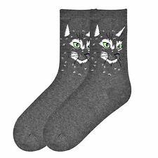 "Cat Socks ""Cat Face"" Charcoal Socks * One Size Fits Most"