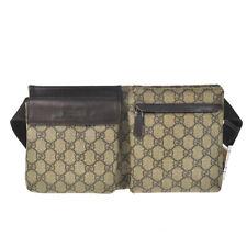 P10 GUCCI Auth GG Supreme Waist Pouch Bumbag Belt Bag Fanny Pack Beige Vintage
