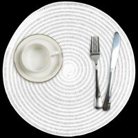Round Placemats Heat-Resistant Woven Set of 6 Anti-Skid PVC Table Mats White