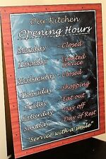 Vintage retro A5 metal wall sign kitchen opening hours wall plaque gift idea