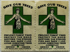 Save Our Trees American Green Cross, Los Angeles, California 2 x Stamps