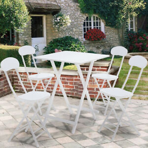 Bar Square Table Set Dining 3/5PC Table Stools Bistro Kitchen Folding Save Space