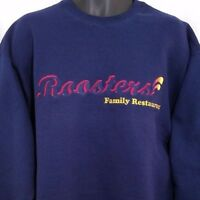 Roosters Family Restaurant Sweatshirt Vintage 90s Embroidered Crew Blue Size XL