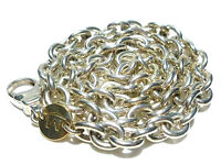 """HEAVY MOVADO STERLING SILVER 18K GOLD CHARM CABLE CHAIN LINK NECKLACE 18"""""""