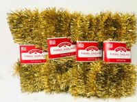 Lot Of 4 Gold Holiday Christmas Tree Tinsel Garland 60 Ft