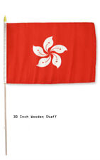 "12x18 12""x18"" Hong Kong Country Stick Flag 30"" wood staff"