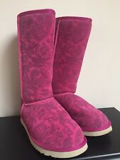 UGG BOOTS SIZE 5 6 PINK PAISLEY FUR LINING TALL
