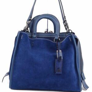 Coach Handbag Semi Shoulder Bag Tote Leather 2Way Rogue Suede Blue Women