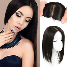 Silk Base Frontal Straight 100% Remy Human Hair Clip in Topper Hairpiece Cover L