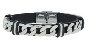 Clochard Fashion Bracelet Leather Black Stainless Steel Solid With Curb Chain