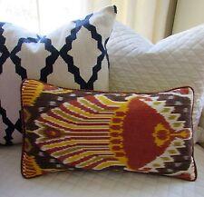"""Designer Couture Turkish Ikat Lumbar Pillow 22"""""""