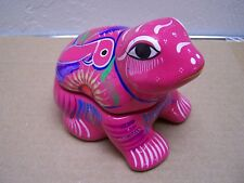 Toluca Ceramic Frog Shaped Jewelry Box with Birds and Flowers, Pink #2 - Mexico