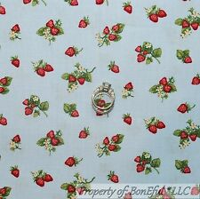BonEful Fabric FQ Cotton Quilt BLUE White Red Strawberry Flower America*n Calico