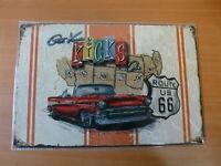 PLAQUES TOLEE vintage 20 X 30 cm : ROUTE 66 USA Get your Kicks on