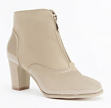 Beige Patent Heeled Front Gold Zip Ankle Boots Size 4 / 37