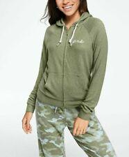 Victoria's Secret PINK Cozy Perfect Zip Hoodie M Safari Green White EUC Worn 2x