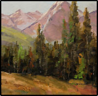 Jeff Love Art Original Oil Painting Alpine Mountain Tree Landscape Impressionism