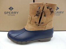 SPERRY WOMENS BOOTS SALTWATER PEARL LEATHER NAVY TAN SIZE 10