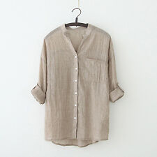 Women Casual Loose Long Sleeve Top V-neck Sun block Linen Blouse Tank Tee Shirts