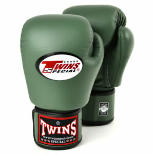 Twins BGVL-3 Leather Boxing Gloves Olive Green Muay Thai Sparring Kickboxing
