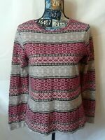 Kim Rogers Womens Top Size S Multicolor Print Long Sleeve Pullover 100% Cotton