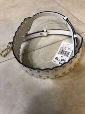 Michael Kors Guitar Strap Optic White Leather Gold Grommets 30t8gg9n1i
